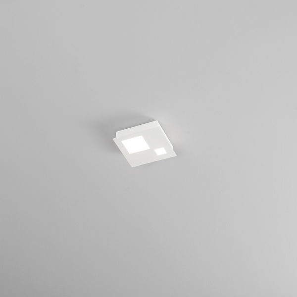 Satin white metal ceiling with integrated LED small