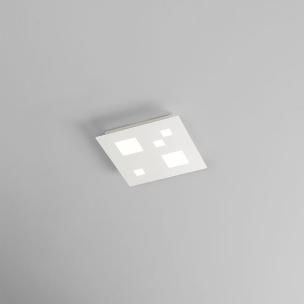 Satin white metal ceiling with integrated LED middle