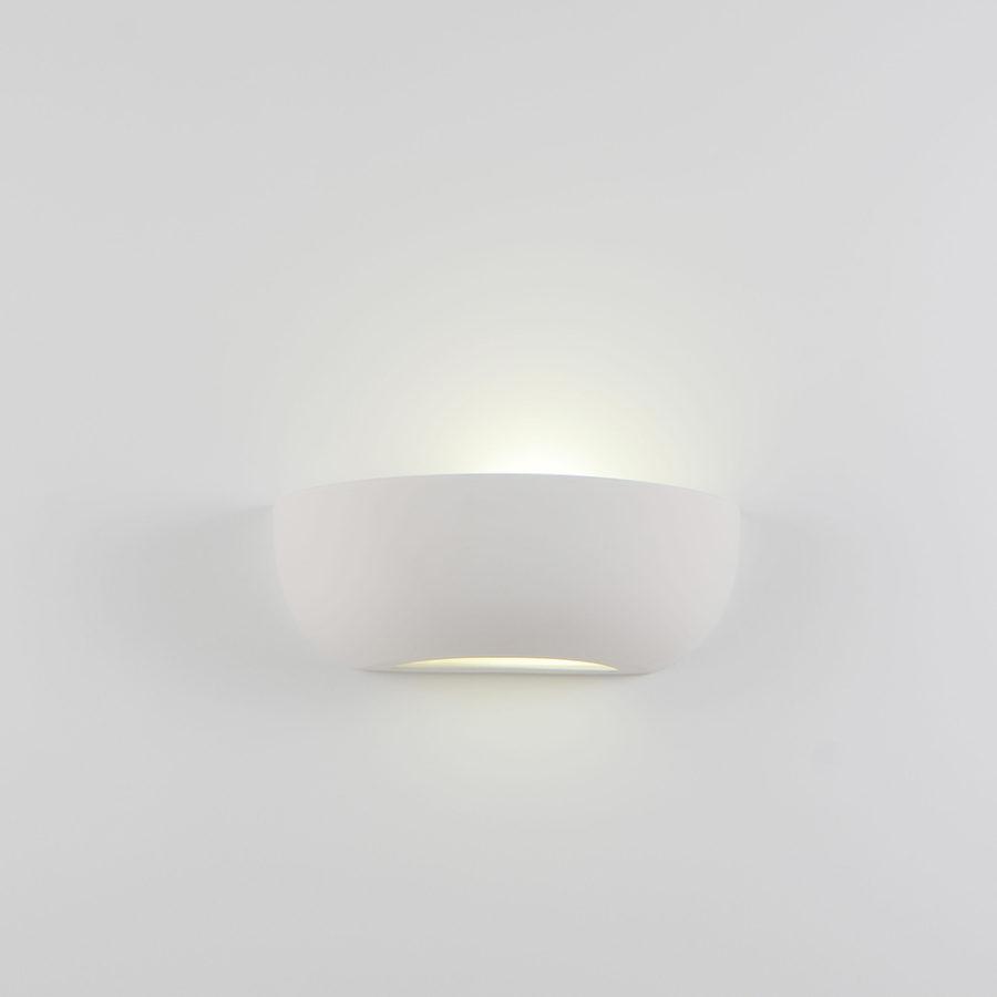 Applique semiquarto piccola ceramica bianco tinteggiabile