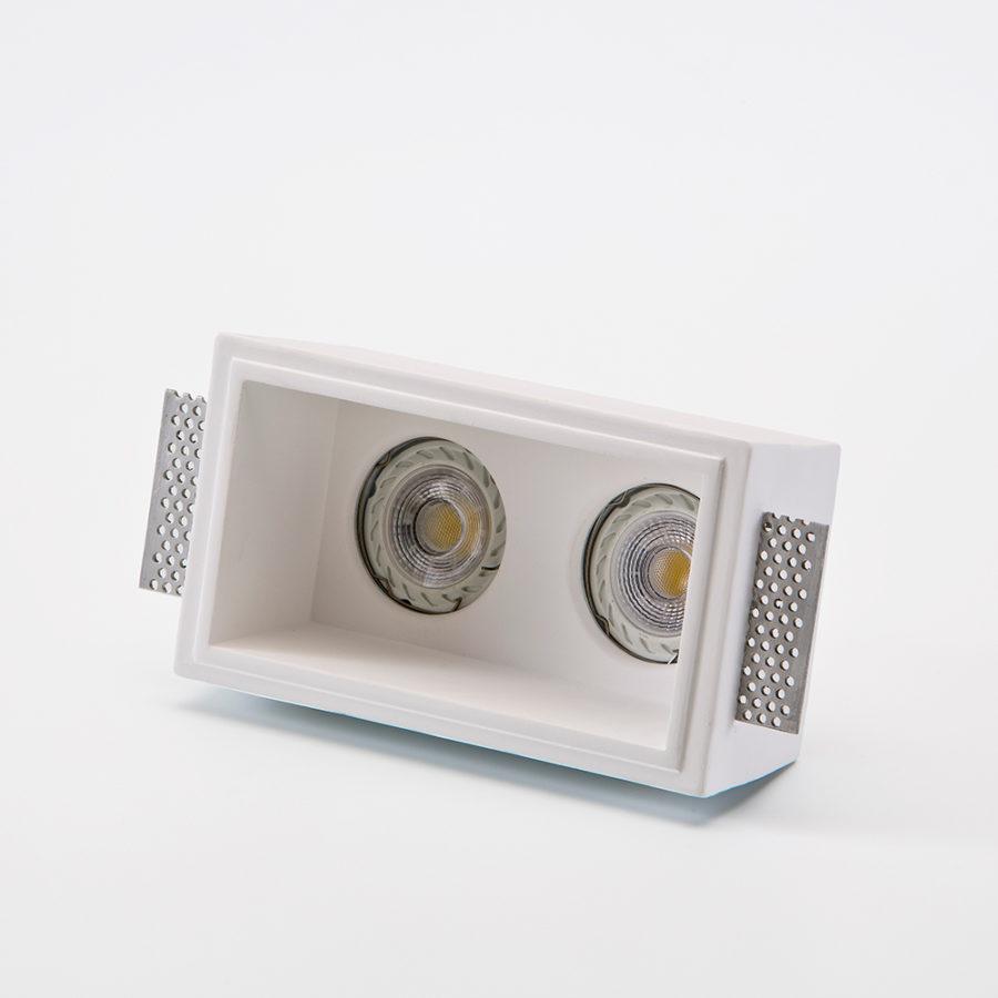 Incasso in gesso rettangolare doppia lampadina