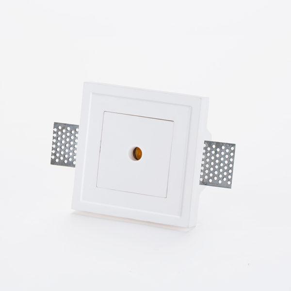 Incasso in gesso quadrato con occhiello circolare a LED