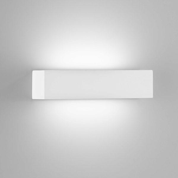 Applique prisma in gesso a LED bianco tinteggiabile