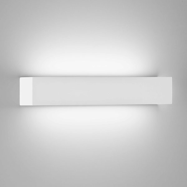 Applique prisma grande in gesso a LED bianco tinteggiabile