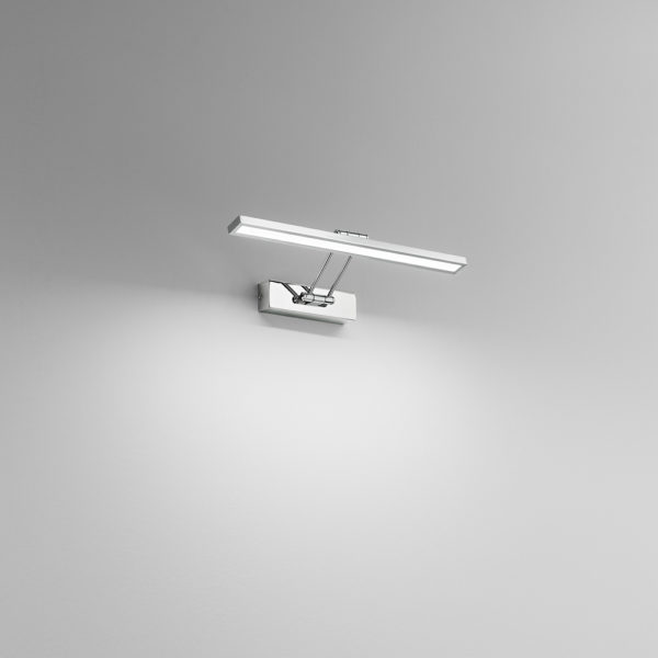 Chrome-plated metal LED wall lamp
