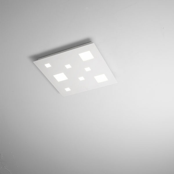 Satin white metal ceiling with integrated LED large