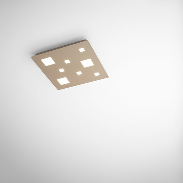 Opaque sand metal ceiling with integrated LED large