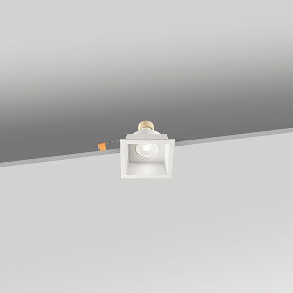 Faretto quadrato da incasso in alluminio 88x88