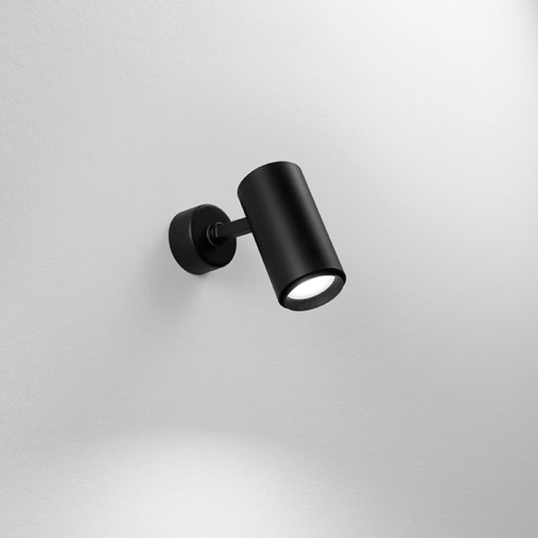 Lampada orientabile da soffitto/parete in alluminio nera
