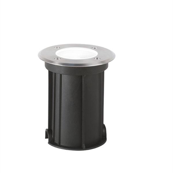 Faretto tondo da esterno Cyklope con cornice in acciaio ø120x140
