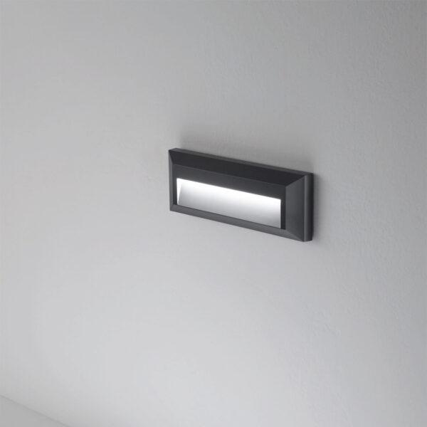 Lampada da parete-segnapasso in PC/ABS e-seaLED - Bianco / Antracite - 4000K / 115lm