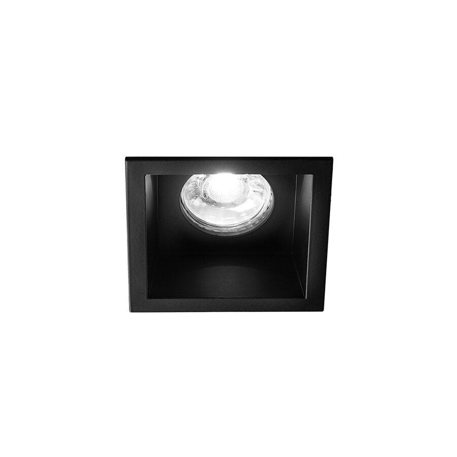 Faretto quadrato da incasso in alluminio 88x88 - Nero