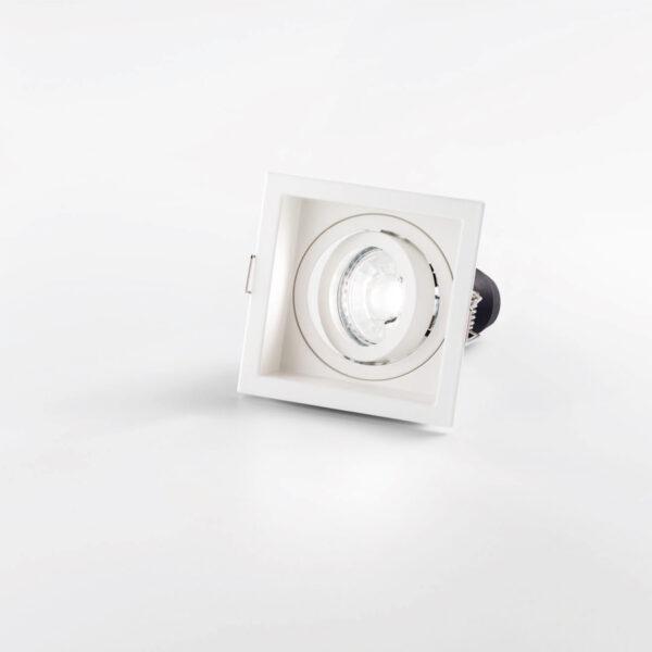 Faretto orientabile quadrato da incasso in alluminio - Bianco