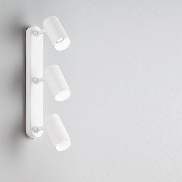 Lampada da soffitto/parete in alluminio con 3 luci orientabili - Bianco