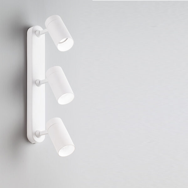 Ceiling/wall lamp in aluminium with 3 adjustable lights - White